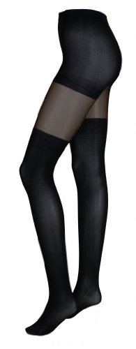 Intimate Portal Women's Fake-it Thigh High Opaque Tights Black Sheer