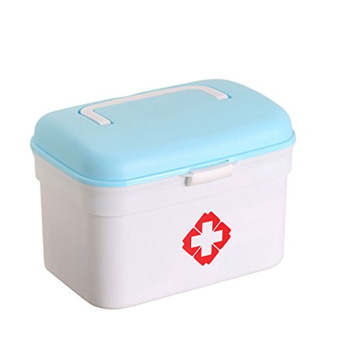 iTECHOR Double Layered Household Emergency Medical Box Daily Healthy Products Storage Box - Sky Blue + White by Itechor