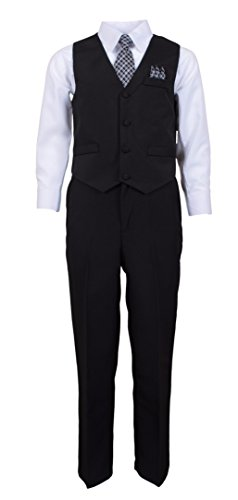 Vittorino Boy's Formal Shirt Vest Pants and Tie Dress Suit Sets 14 Black White Dress Vest Pants