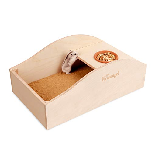 Niteangel Hamster Sand Bath Dust Free Box – Wooden Critter's Shower & Digging Sand Bathtub for Small Animals Like Hamsters Mice Lemming or Gerbils (Large-16.5-inch L x 9.6-inch W)
