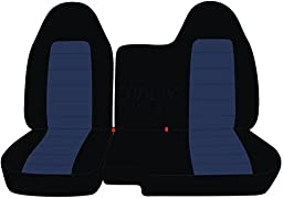 1998-2003 Ford Ranger/Mazda B-Series Two-Tone Truck Seat Covers (60/40 Split Bench) - No Armrest/Console: Black and Navy Blue (21 Colors)