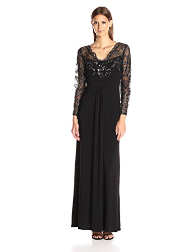 Marina Women's Long Jersey Gown with Scallop Lace Bodice, Black, 4 ()