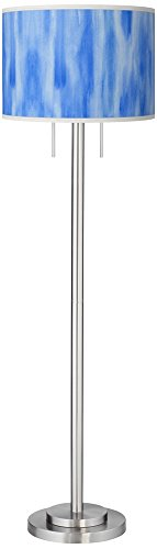 Blue Giclee Floor Lamp - Blue Tide Giclee Brushed Nickel Garth Floor Lamp