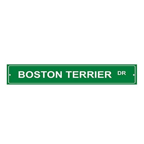 HarrodxBOX Boston Terrier Dog Drive Decorative Metal Street Sign Wall Art Alunimum Tin Sign 4 x 18 ()