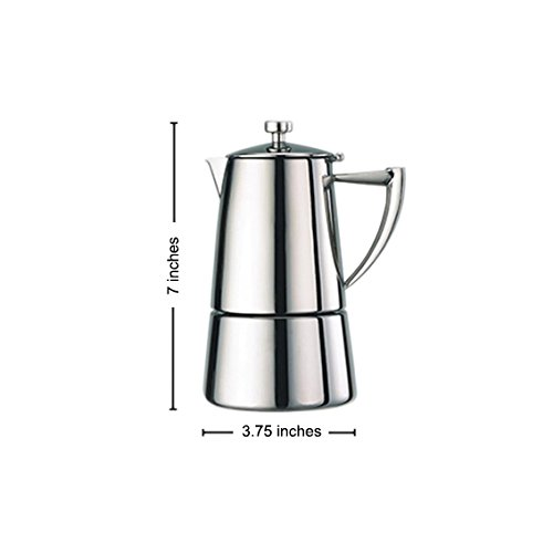 Cuisinox Roma 4 Cup Moka Espresso Stovetop Coffeemaker in Stainless Steel by Cuisinox