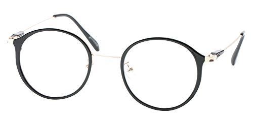 SOOLALA Unisex Vintage Inspired Round Circle Reading Glasses Customized Strengths, Black, 0.5D ()
