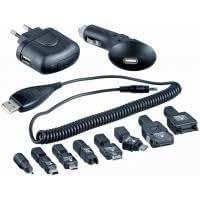 Helos kit de carga universal 3-in-1 USB/12 V/230 V con adaptador de teléfono fijo 8