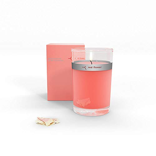 (Red Flower Japanese Peony Petal Topped Candle, Japanese Peony, 6 oz)