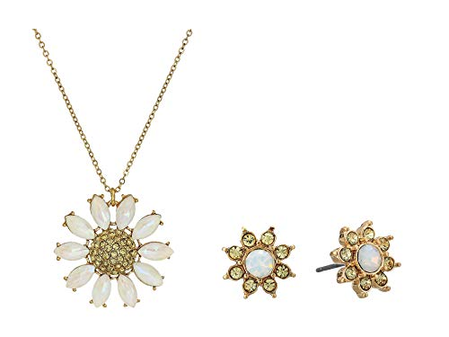 - Betsey Johnson (GBG) Women's Pave Daisy Flower Pendant Necklace & Stud Earrings Set, Yellow, One Size