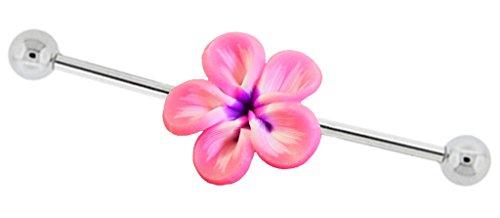 "Pink, purple, white Hawaii Flower Plumeria Industrial Barbell piercing bar jewelry ring Earring 14g 14 gauge 1-3/8"""