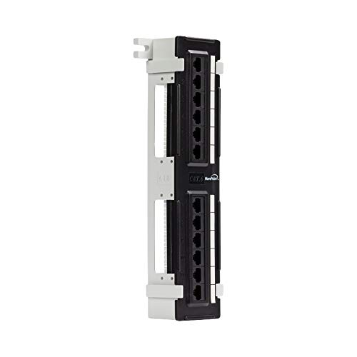 NavePoint 12-Port Cat6 UTP Unsheilded Mini Patch Panel with Wallmount Bracket Included ()
