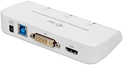 i-Tec USB 3.0 Dual display adaptador vídeo (1x HDMI, 1x DVI, 1x VGA adaptador, Full HD+ 2048 x1152, tarjeta gráfica externa), color blanco