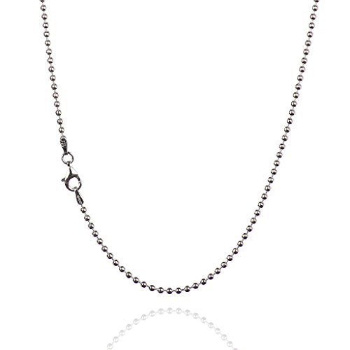925 Sterling Silver 2.00 mm Smooth Bead Chain Necklace with Pear Shape Clasp-Rhodium ()
