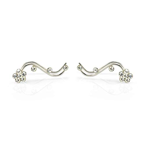 Sterling Silver Flower Vine - 925 Sterling Silver Flower Vine Cuff Earrings - Chuvora Jewelry - White Crystal Ear Crawlers