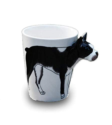 - 3D Hand-painted Cute Animals Mug,Ceramic Coffee Mug,Novelty Gift Cup (13.66oz) (Boston Terrier)