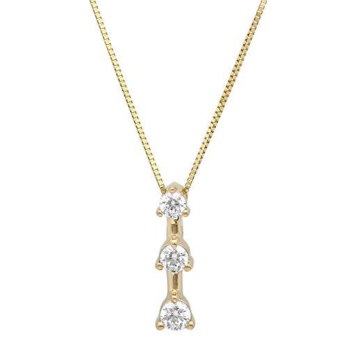 14k 3 Stone Pendant - Clara Pucci 0.25ct Brilliant Round Cut Simulated Diamond CZ 3-Stone 14K Yellow Gold Solitaire Pendant Box Necklace 16 Chain