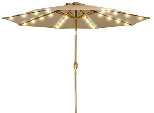 9 Solar Powered LED Lighted Patio Umbrella with Bronze Finish Frame – By Trademark Innovations Tan