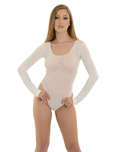 - Teddy Opaque Bodysuit SeXy Long Sleeve Black or White Color: White