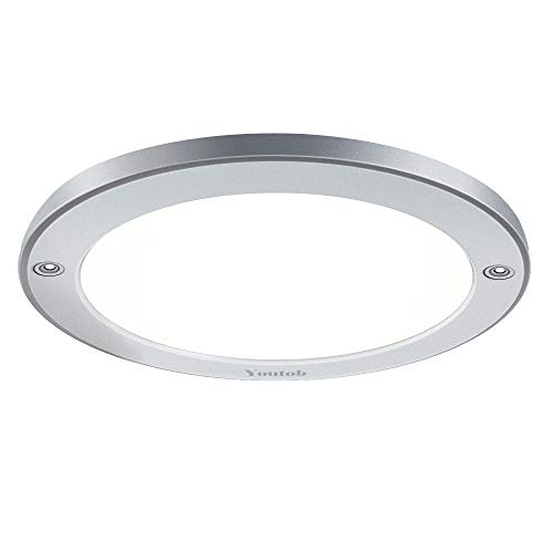 Youtob LED Flush Mount Ceiling Light, 15W 100 Watt Equivalent, 1200lm Brushed Silver Round Lighting Fixture for Closets, Kitchens, Stairwells, Basements, Bedrooms, Washrooms (Cool White 4000K) from Youtob