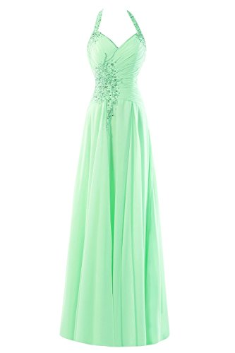 Kleid Prom Chiffon Mint Kleides Evening Pink Women's Lang Beaded Fanciest Halter Formelle wxz06