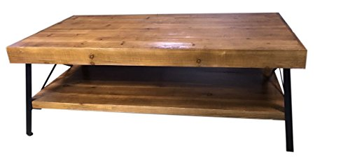 Solid Wood Coffee and Cocktail Table - Solid Wood Top - Sturdy Metal Frame - Distressed Rustic Look - Assembles in Minutes - Lower Shelf for Additional Storage - Ideal Accent Table (Wood And Metal Coffee Tables)