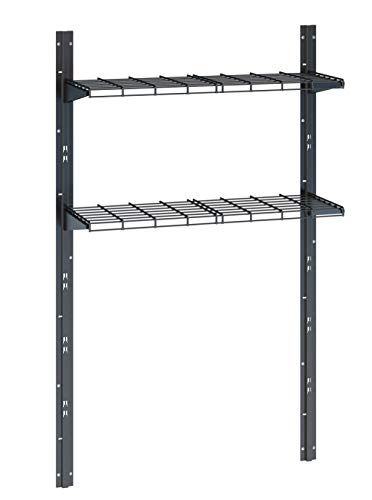 Suncast Sierra Shelf Kit - Storage Shelving Shed, Garage, Indoors and Outdoors - Two Shelves and Brackets Holds 70 lbs. of Garden Supplies, Tools, Toys, Outdoor Accessories - Black
