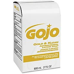 Gojo Gold & Klean Antimicrobial Lotion Soap - Fresh Scent Scent - 27.1 fl oz (800 mL) - Dirt Remover, Bacteria Remover, Kill Germs, Residue - Antimicrobial, Anti-Bacterial, Leak Proof - 1 Each (Soap Klean Lotion Antimicrobial)