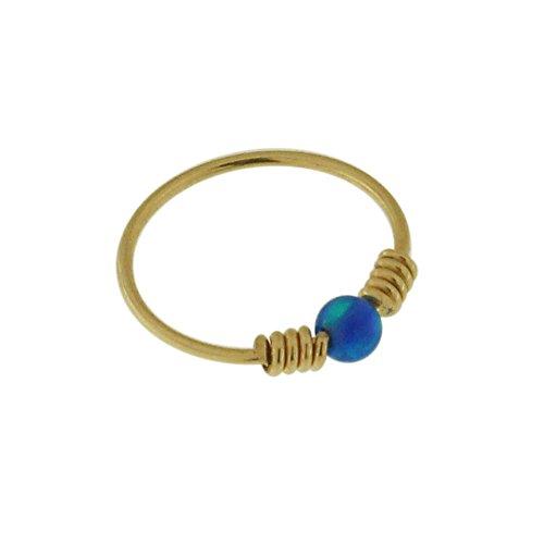 Tragus,22 Gauge,8mm 9K Yellow Gold Opal Stones Nose Ring piercing Ring