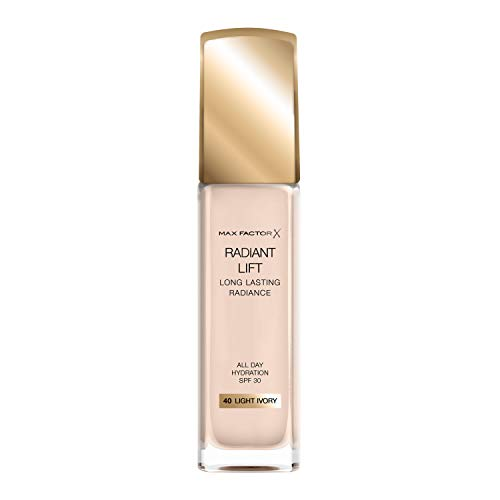 Max Factor Radiant Lift Liquid Pump Medium to Full Coverage Radiant Finish Foundation with SPF30 and Hyaluronic Acid, 040 Light Ivory, Light Skin Tone, 30ml