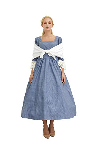 SHANSHAN Woman's Pioneer Costume Colonial Printed Dress Lace Sleeve Prairie Outfit Daily Clothes with Shawl (Blue)]()