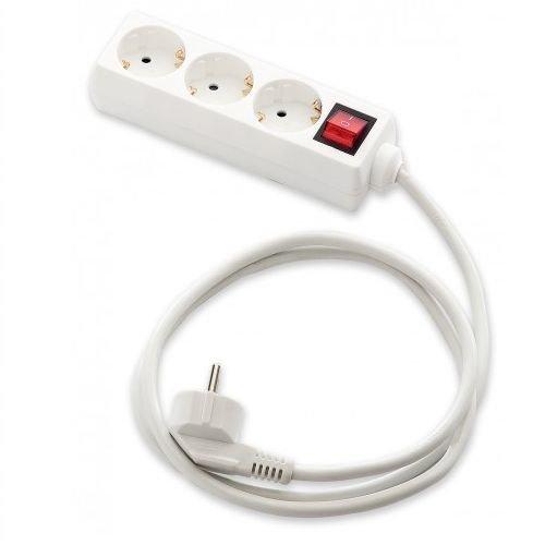 Cablepelado Base de Enchufe 3 Tomas con Interruptor 1.8 Metros Blanco