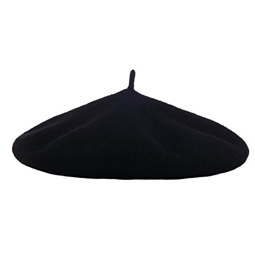 Wheebo Wool Beret Hat,Solid Color French Style Winter Warm Cap for Women Girls(Black)]()