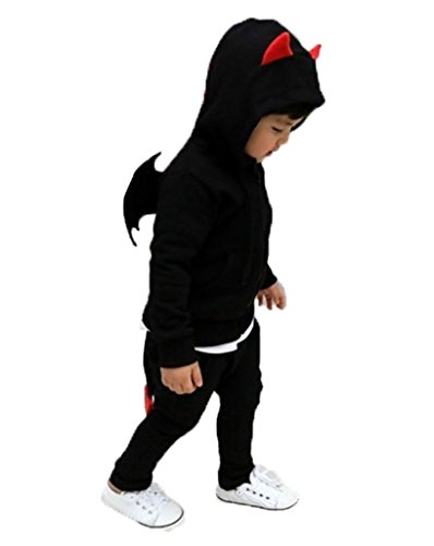 [CANIS Unisex Kids Little Devil Outfit Hoodie Pants 2pcs Overall Suits Sportwear] (Devil Girl Outfit)