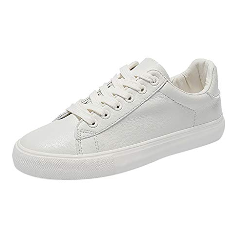 ANJUNIE Fashion Skateboarding Lady Breathble Vulcanized Shoes Leather Lace Up Student Casual Sneakers (Beige,38=US: 6.5)