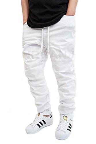 URBANJ MEN'S WHITE TWILL DROP CROTCH JOGGER PANTS