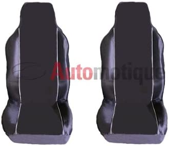 DAF XF TRUCK 2 PIECE PREMIUM BLACK SEAT COVERS WHITE PIPING 1-1
