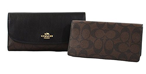 (Coach Signature PVC and Leather Checkbook Wallet (Brown Black))