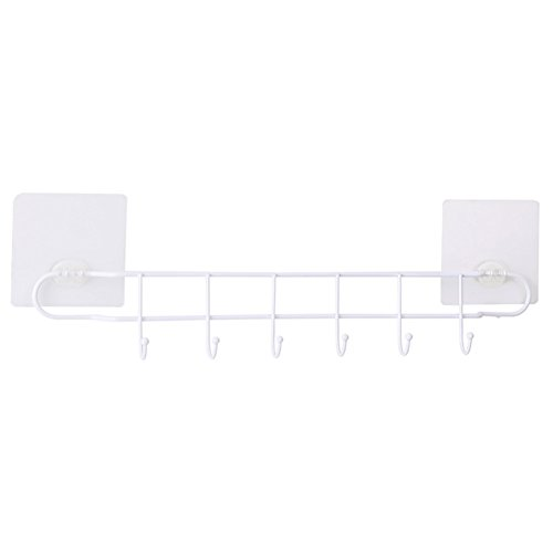 Kitchen Storage Rack Corner Tray Shelf Wall Hanging Suction Cup Type Knife Spoon Condiment Multifunction Iron, White, 2 ()