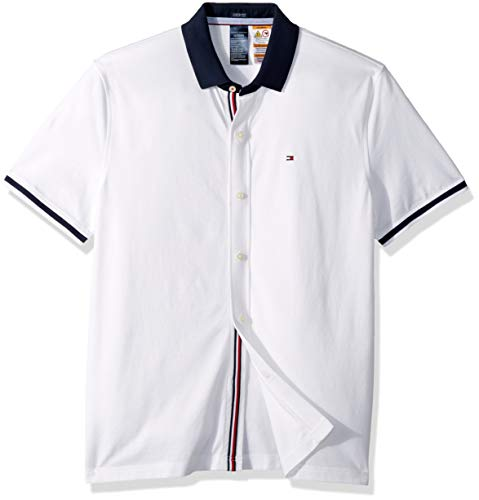 low priced df813 04d9e Tommy Hilfiger Men's Adaptive Polo Shirt with Magnetic Buttons Custom Fit,  Bright White, Large
