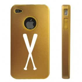 Apple iPhone 4 4S 4 Gold D2694 Aluminum & Silicone Case Cover Baseball Bats