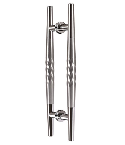 (TOGU TG-6024 450mm/18 inches Back to Back Stainless Steel Push Pull Door Handle for Solid Wood, Timber, Glass and Steel Doors, Mirror Polished Chrome in ends with Brushed Stainless Steel in middle)