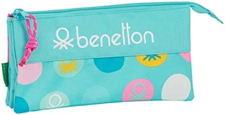 safta 812051744 Estuche portatodo Triple Escolar Benetton, Azul: Amazon.es: Equipaje