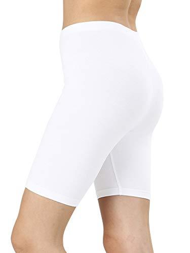 - Womens & Plus Cotton Stretch Knee Length Fitness Sport Biker Shorts Leggings (White, 1X)