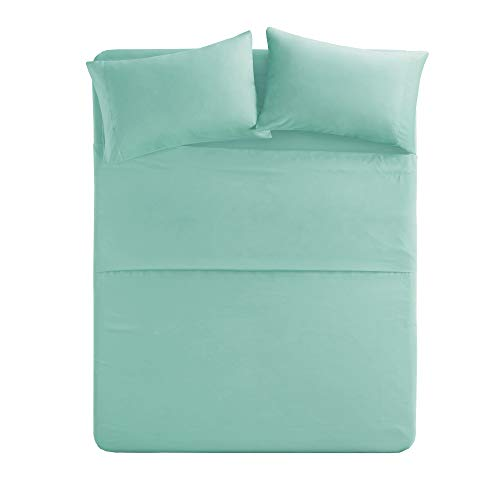 Comfort Spaces - Hypoallergenic Microfiber linen Set - 6 Piece - Queen Size - Wrinkle, Fade, Stain protected - Aqua Blue - is made up of Flat Sheet, Fitted linen and 4 Pillow Cases