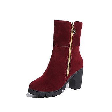 Boots For Boots Toe Burgundy Fall Zipper Women'S Heel Casual US6 Cashmere Fashion Mid UK4 EU36 Calf Shoes RTRY Boots Chunky CN36 Round Black wgvXZOT