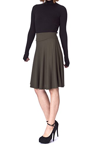 Dani's Choice Impeccable Elastic High Waist A-Line Full Flared Swing Skater Knee Length Skirt (S, Khaki)