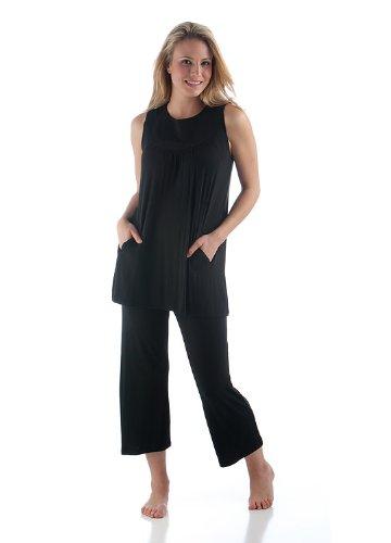 BambooDreams 'Clara' Circle Tunic Pajama Set Medium Black