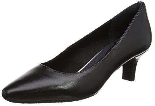 Pump Black Kirsie Tacón de con Punta para Zapatos Rockport Leather Plain Mujer Cerrada Negro wpE77