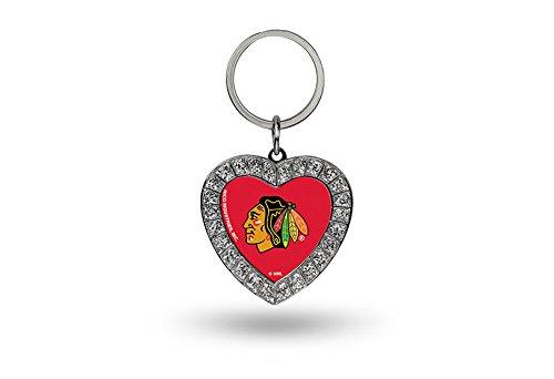 Rico NHL Chicago Blackhawks Rhinestone Heart ()