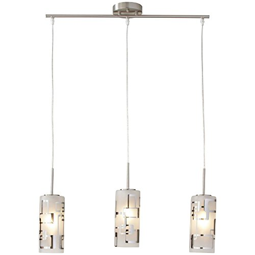 Hampton Bay 3-Light Brushed Nickel Ceiling Mini Pendant w Modern Pattern Etched White Glass